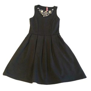 Black Fit and Flair Embellished Cocktail Dress